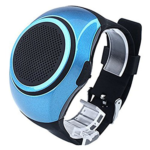 Bluetooth Speaker Watch Wearable Wireless Speaker Mini Sports Speaker Support TF Card MP3 Music Player FM Radio Handsfree Call Wristband For Android Samsung LG HTC Motorola Men Boy Girl Kids Blue by TopePop