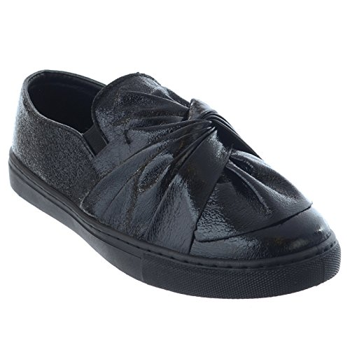 Miss Image UK New Ladies Flat Bow Metallic Slip On Ladies Trainers Sneakers Pumps Skater Shoes Size Black Crinkle a0HiQA