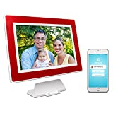PhotoSpring (16GB) 10-Inch IPS, WiFi, Touchscreen, Battery, iPhone & Android App, Photo & Video, Digital Picture Frame (White with Maroon Red Mat) 15,000 photo capacity Review
