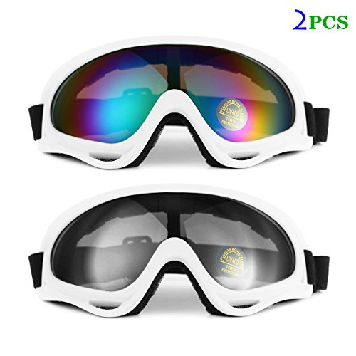 Ski Goggles Snowboard Adjustable UV Protective Motorcycle Riding Goggles for Men, Women & Youth, With UV 400 Protection, Wind Resistance, Anti-Glare Lenses (White Frame- Multicolor and Gray) - Strap Sunglasses Target