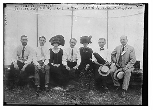 11 x 14 Vintage Photo of:Aviators at Pittsburgh; Aug. Post Mars and wife Curiss and wife Baldwin and Judge M. - Aviators Pittsburgh