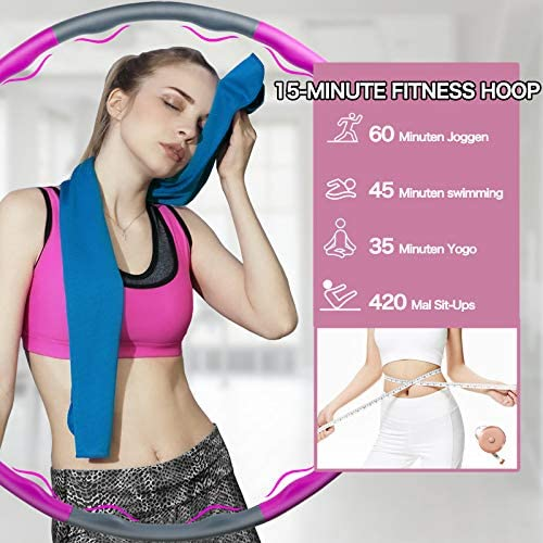 Fitness Exercise Weighted Hoops, Premium Soft Padding Weighted Hoop for Adults Weight Loss, 8 Sections Adjustable Adult and Children Detachable Workout Fitness Hoops 5
