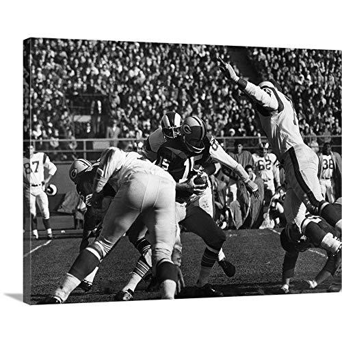 "Quarterback Bart Starr of The Green Bay Packers Canvas Wall Art Print, 24""x18""x1.25"""