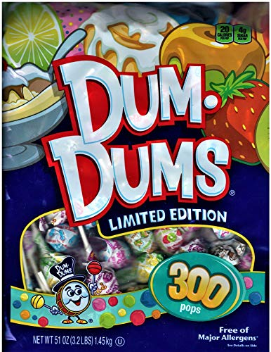 - Spangler Dum Dums Lollipops Candy Limited Edition Flavors, 300 Pops (51 Ounces) Bag