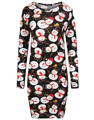 Rewatronics - Vestido - ajustado - Manga Larga - para mujer Black Snowman