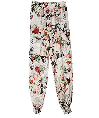 WanYang Pantalones Deportivos Para Mujer Pantalones Harén Pantalones De Deporte Con Impresión Flor