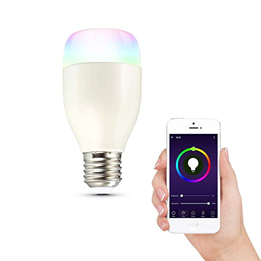 Bombilla LED inteligente App mando a distancia Control Vocal, RGBW cambio de color lámpara de