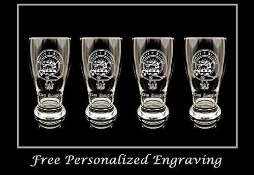Beer Scottish (Clan Douglas Scottish Crest Pint Glass Set of 4 - Free Personalized Engraving, Family Crest, Pub Glass, Beer Glass, Custom Beer Glass)