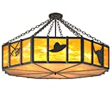 Meyda Tiffany 11883 Southwest Cactus, Longhorn & Hat Semi-Flush Mount Light Fixture, 47.5'' Width