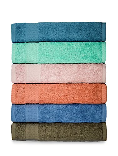 Cleanbear Face-Cloth Washcloths Set,100% Cotton, High Absorbent, 6-pack 6 Colors, Size13 x13-deep color