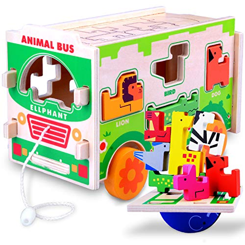 Gamenote Jumbo Wooden Shape Sorter Animals Bus with Puzzle Jigsaw and Seesaw Game - Educational Pull Push Truck Toys for Toddlers and Baby (Need to Assemble)(Colorful)
