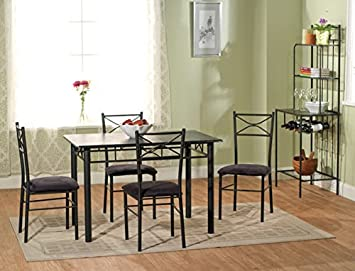 Simple Living Valencia 6 Piece Metal Dining Set Table And Chairs With  Bakeru0027s Rack Elegant