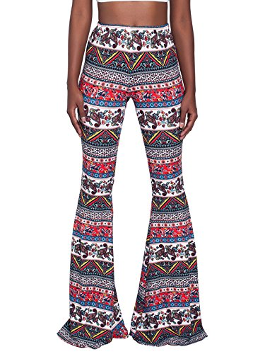 int Stretchy Bell Bottom Flare Palazzo Skinny Pants High Waist Trousers(Red,L) ()