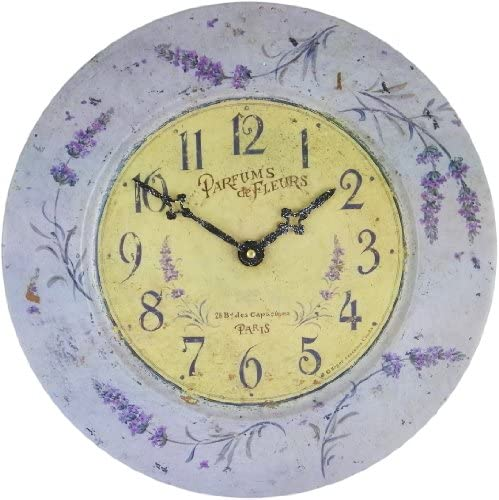Roger Lascelles French Tin Wall Clock, Lavender Theme, 13.6-Inch