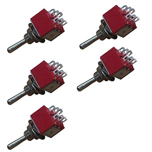 Etopars 5 X On/Off/On Momentary Mini Miniature Toggle Switch Dashboard DPDT 6Pin (Dpdt Miniature)
