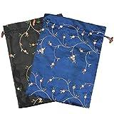 kilofly Embroidered Silk Jacquard Travel Bag, Lingerie & Shoes, Value Set of 2
