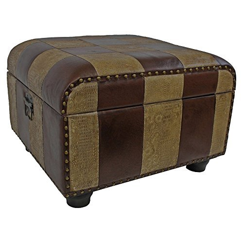 International Caravan YWLF-2187-MX-IC Furniture Piece Faux Leather Ottoman Trunk w/Lid