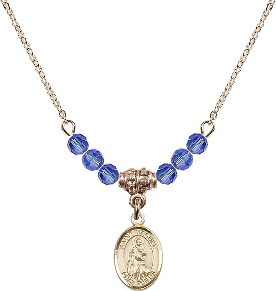 Bonyak Jewelry 18 Inch Hamilton Gold Plated Necklace w// 4mm Blue September Birth Month Stone Beads and Saint Rachel