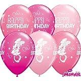 "Minnie Mouse Happy Birthday 11"" Qualatex Latex Balloons x 10"
