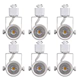 wire track lighting Cloudy Bay 8W 4000K Cool White Dimmable LED Track Light Head,CRI90+ True Color Rendering Adjustable Tilt Angle Track Lighting Fixture,40° Angle for Accent Retail,White Finish,Halo Type- Pack of 6