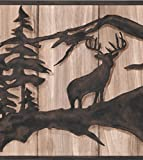 Chocolate Brown Abstract Wild Forest Deer Bear on Beige Faux Wood Wallpaper Border Retro Design, Roll 15' x 10''