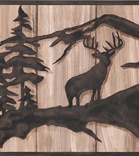 Chocolate Brown Abstract Wild Forest Deer Bear on Beige Faux Wood Wallpaper Border Retro Design, Roll 15' x 10