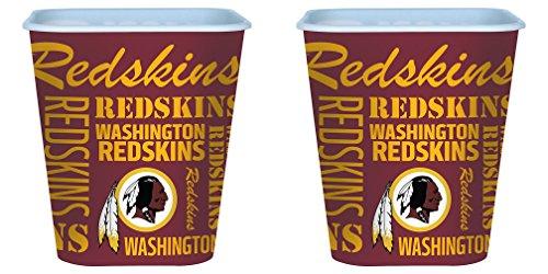 (Washington Redskins 3 Liter Reusable Plastic Snack Bucket 2 Pack)