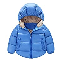 TAOJIAN Toddler Baby Boys Girls Outerwear Cotton-Padded Hooded Coats Winter Jacket (2-3Years, Blue)