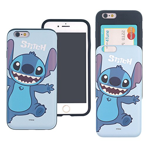 iPhone 8 PLUS / iPhone 7 PLUS Case DISNEY Cute Slim Slider Cover : Card Slot Shock Absorption Dual Layer Holder Bumper for [ iPhone8 Plus / iPhone7 Plus ] (Slim Stitch)