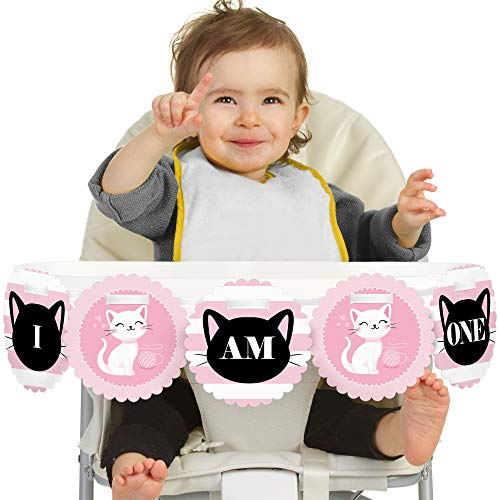 (Big Dot of Happiness Purr-FECT Kitty Cat 1st Birthday - I Am One - First Birthday High Chair Banner)