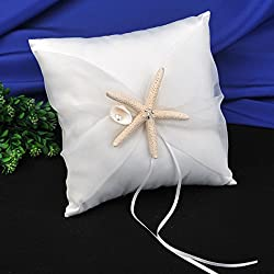 Topwedding Beach Theme Ivory Wedding Ring Bearer Pillow with Starfish