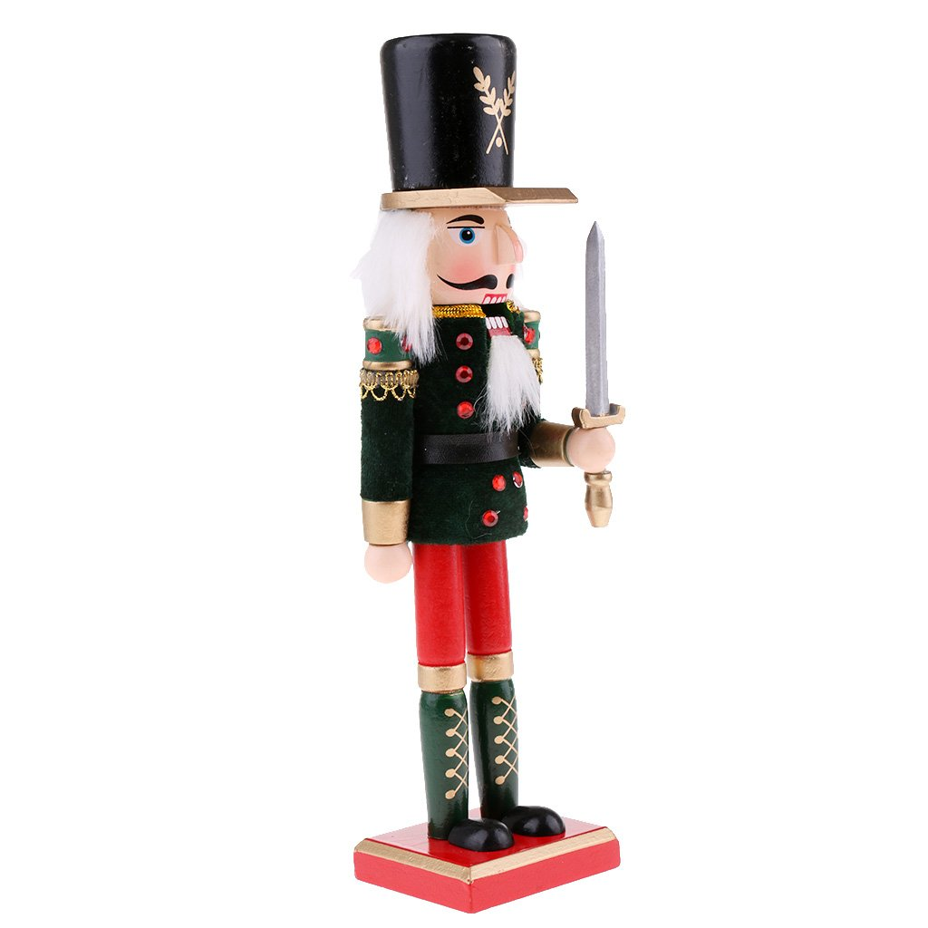 MagiDeal Handpainted 30cm Wooden Fluffy Costume Nutcracker King Soldier Figures Figurine Home Ornaments Kids Green