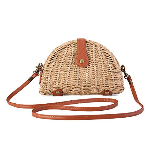 Straw Bag Handbag (Crossbody Straw Bag, JOSEKO Womens Straw Handbag Shoulder Bag for Beach Travel and Everyday Use Light Brown 8.07)