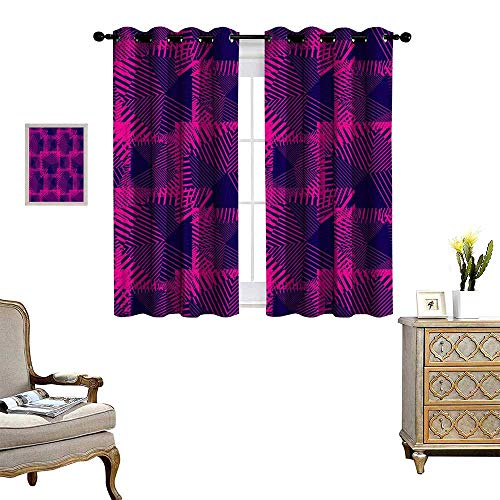 homehot Magenta Window Curtain Fabric Trippy Zip Style Mix Pattern with Dark Color Effects and Diagonal Linked Lines Drapes for Living Room Fuchsia Purple (Nouveau Back Zip)