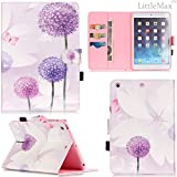iPad Mini 1/2/3 Case-LittleMax(TM) [Pen Slot] Synthetic Leather Kickstand Case [Smart Wake/Sleep] Cover Flip Wallet iPad Mini 3/2/1 Protector [Free Cleaning Cloth,Stylus Pen]-01 Purple Dandelion