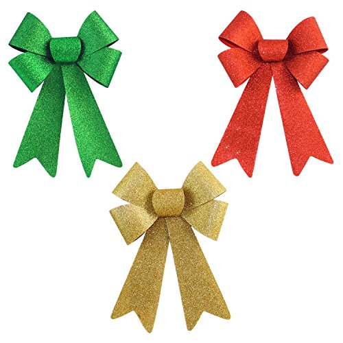 Set of 3 Christmas Glitter Bows in Assorted Colors (Small)
