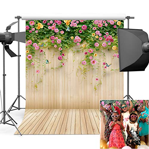 Mehofoto Wood Backdrops for Photography Printed Floral Wall Photo Background for Photo Studio Props Vinyl Wooden Floor Backdrop 5x7