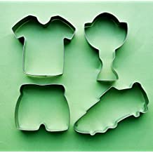 4 pcs Sport soccer football jersey shoe prize cup fondant pastry baking cookie cutter set