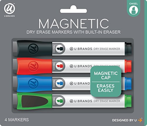 U Brands Low Odor Magnetic Dry Erase Markers With Erasers, Chisel Tip, Assorted Colors, 4-Count