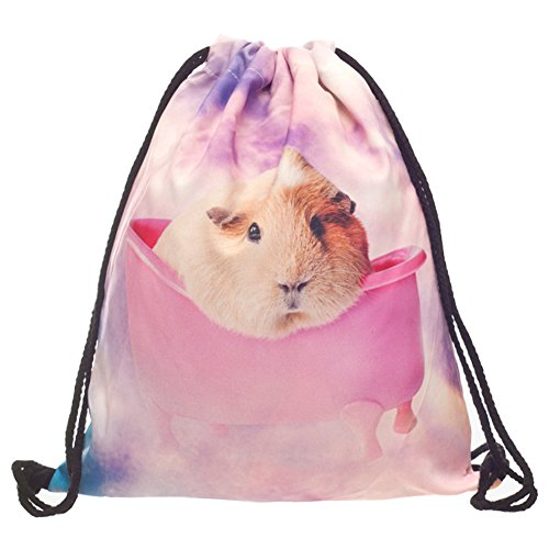 Cheap Print Sackpack Drawstring Backpack Casual Daypacks School Bags (Guinea Pigs)