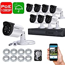 ONWOTE 1080P HD IP PoE Security Camera System 8 Channel NVR with 2TB Hard Drive and 8 Indoor/ Outdoor Night Vision 2.0 Megapixel Video Surveillance Cameras and 100ft Pure Copper CAT5 Ethernet Cables