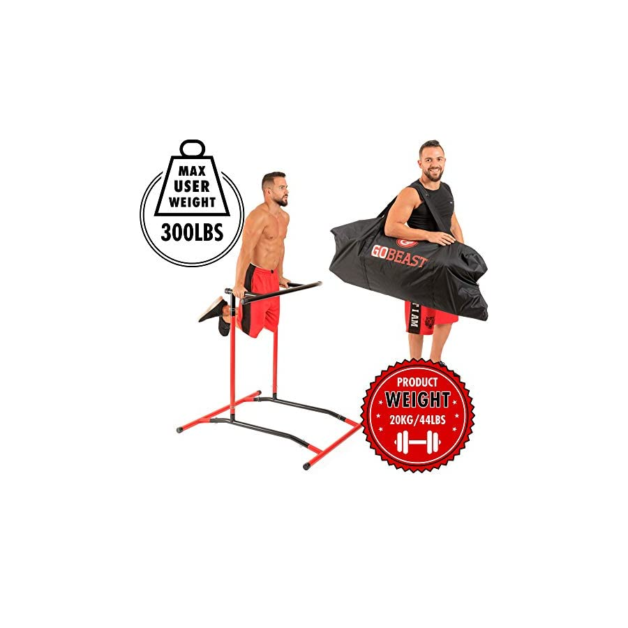 GoBeast Pull Up Bar Free Standing Dip Station Portable Power Tower Home Gym Equipment With 3 Resistance Bands, Storage Bag And Downloadable Exercise Manual, Red Black