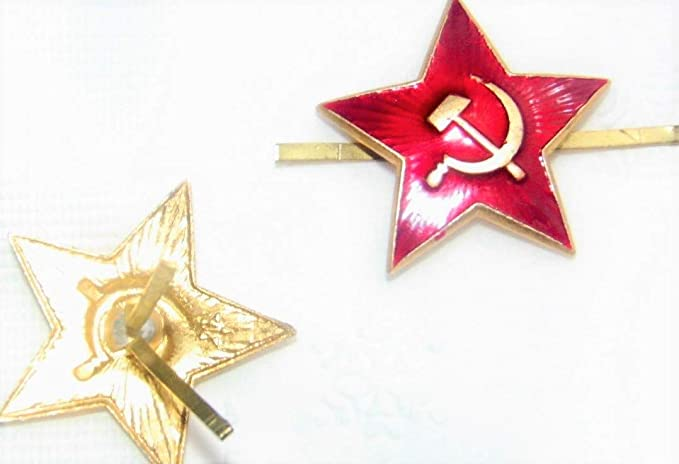 11d9057a9d6 Image Unavailable. Image not available for. Colour  Russian USSR Soviet Red  Army Star Hat Pin Cap Badge Kokarda  ...