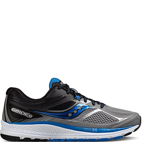 15w 10 (Saucony Men's Guide 10 Running Shoes, Grey Black, 15 W US)