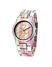 Bewell New Arrival Handmade Natural Colorful Bamboo Watch Waterproof Quartz Analog Unisex Wooden Wristwatch(1pcs, Colormix)