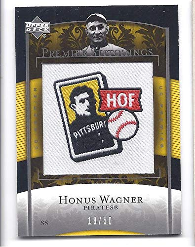 (HONUS WAGNER 2007 Upper Deck Premier Stitchings #42 Manufactured Patch Card #18 of only 50 Made! Pittsburgh Pirates Baseball )