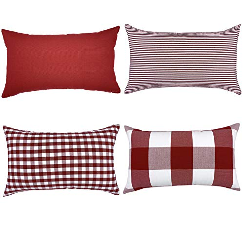 (YOUR SMILE Set of 4 Cotton Canvas Farmhouse Throw Pillow Covers for Sofa(Pure Color, Checkers Plaid, Stripe, Lattice) (12'' x 20'', Red))