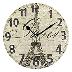 Pfrewn Wall Clock Vintage Eiffel Tower Paris Clock Silent Non Ticking Round Wall Clocks Battery Operated Decor,England Clocks 10 Inch Quartz Analog Quiet Desk Clock Bedroom Living Room for Kids