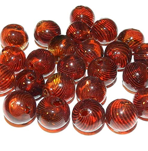Round Blown Lampwork Glass Beads 25pc Autumn Red w Black Swirls 12mm AG01 ()