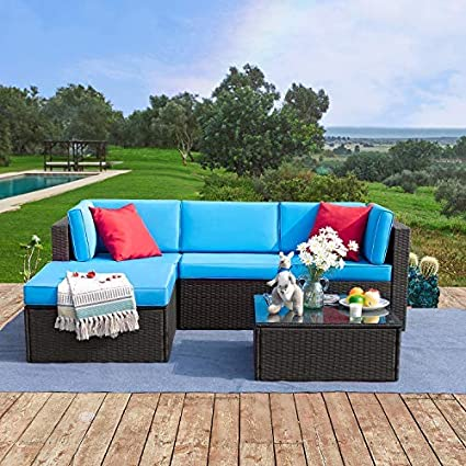 Amazon Com Tuoze 5 Pieces Patio Furniture Sectional Set Outdoor All Weather Pe Rattan Wicker Lawn Conversation Sets Cushioned Garden Sofa Set With Glass Coffee Table Blue Garden Outdoor